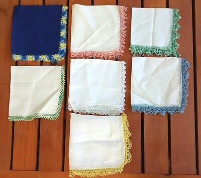 Vintage Tatted Edge Linen Cotton Womens Handkerchief Lot
