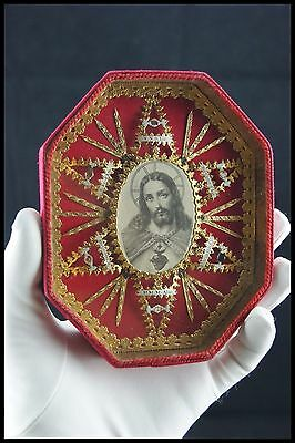 † Ihs Bvm + Cure Of Ars + St Alacoque Vhm Multi Reliquary 6 Relics Frame France†