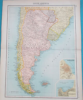 Map of Argentina & Patagonia. 1898. Genuine. SOUTH AMERICA.