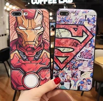 3D Iron Man Superman Leather Phone Case for iphone X XS MAX 7/8Plus /Samsung S9