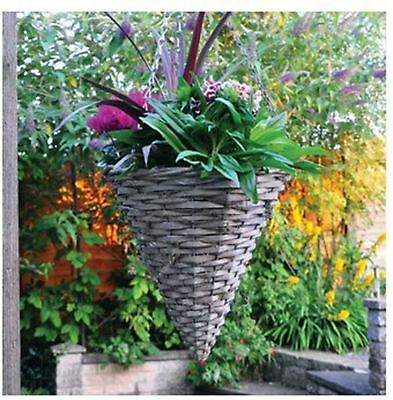 2x Garden Outdoor Natural Hanging Planting Wicker Cone Shaped Plant Basket Chain