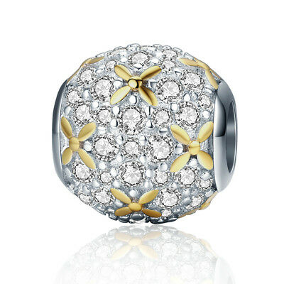 Authentic 925 Sterling Silver Sparkling CZ Charm Ball with 14K Gold fit Bracelet