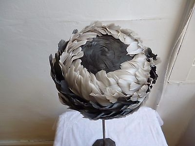 Beautiful Authentic Vintage 1950s 60s Grey Feather Hat Wedding Evening 22""