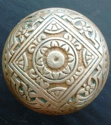 Beautiful Antique Victorian Eastlake Brass Bronze Door Knob - Solid and Heavy