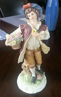Andrea by Sadek # 9417 Young Man with Basket of Flowers Porcelain Figurine