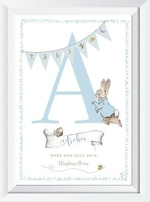 Personalised Peter Rabbit baby name  LASER PRINT gift christening birth picture