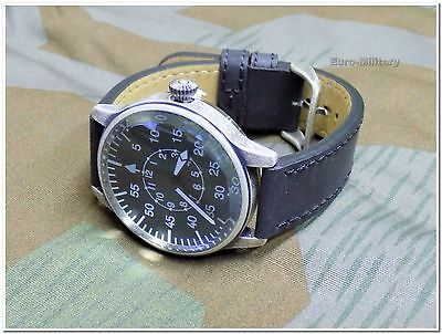 WW2 German Luftwaffe ME-109 Pilot Watch - Black Leather Strap - Vintage - New