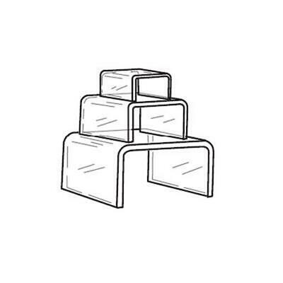 "Acrylic Clear Square Figurine Riser Set of 3 - 2"",3"",4"""