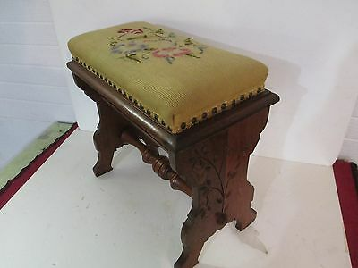 Victorian needlepoint stool VG
