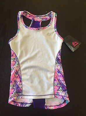 RBX Girls Racerback Athletic Tank Top Shirt - White Purple Print -Sz S 7-8, NWT