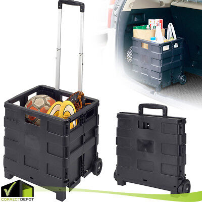 Collapsible Folding Rolling Smart Utility Cart Wheels Shopping Groceries Storage