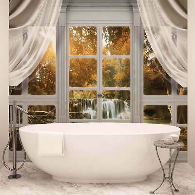 WALL MURAL PHOTO WALLPAPER XXL Curtains Window View Waterfall Forest (10621WS)