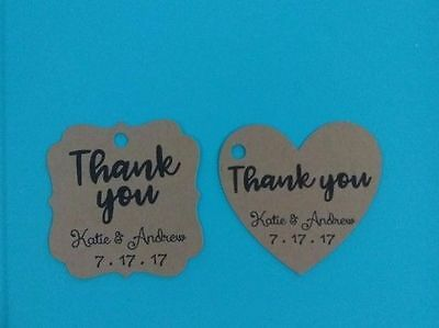 24 Kraft personalized THANK YOU Wedding favor tags, vintage, rustic, antique.