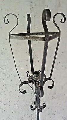 """1920s Wrought Iron 59"""" x 12"""" Floor Antique Candle Holder"""