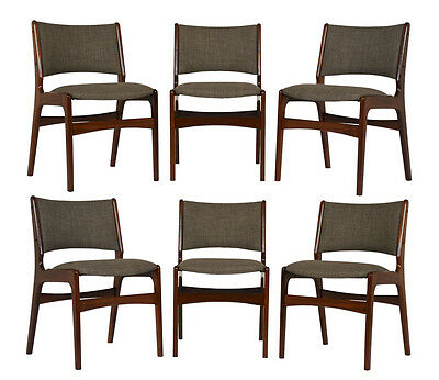 Set of 6 Mid-Century Modern Teak Dining Chairs Stained in a Rich Walnut Color