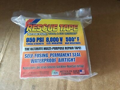 """RESCUE TAPE™ Self-Fusing Emergency Repair Tape, Clear, Silicone - 1"""" x 12'"""
