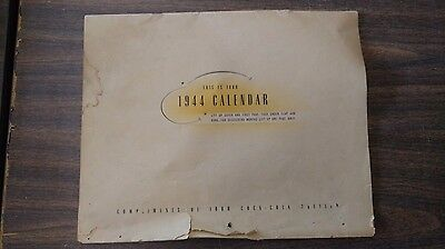 Vintage 1944 Coca-Cola Calendar Compliments Of Your Coca-Cola Bottler, Original
