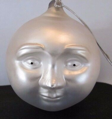 Frosted Mercury Glass Moon Face Ornament Dept 56