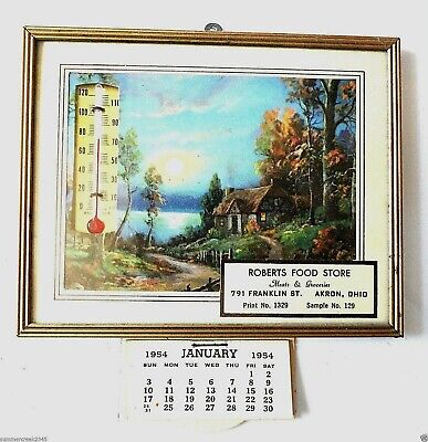 """Robert's Food Store"" Advertising Thermometer w/1954 Calendar Akron Ohio"