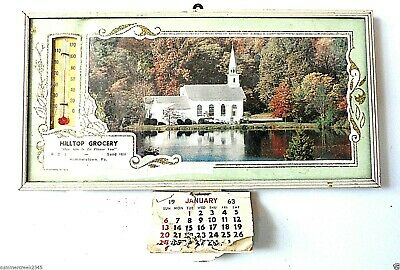 """Hilltop Grocery"" Advertising Thermometer With 1963 Calendar Hummelstown, Pa"