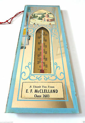 """E.F. McCelland""  Advertising Mirrored Thermometer  Chase,Md"