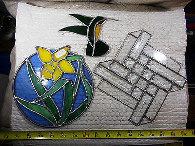 Vintage Stained Glass Suncatcher Window Hanging Decor Wall Art Decoration 3 Pcs