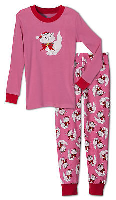 Sara's Prints Girls' Holiday Christmas Cat 2 Piece Pajama Set, Kids Sizes 2-14