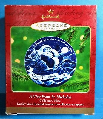 "Hallmark ""A Visit From St. Nicholas"" Collector's Plate Ornament 2000"