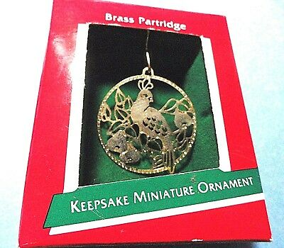 "Hallmark ""Brass Partridge"" Miniature Ornament 1989"