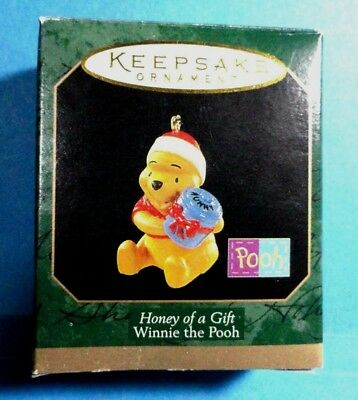 "Hallmark ""Honey of a Gift"" Miniature Ornament  Winnie the Pooh 1997"
