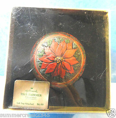 "Hallmark ""Holly Poinsettia"" Tree Trimmer Ball Ornament 1978"