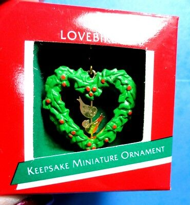 "Hallmark ""Lovebirds"" Miniature Ornament 1989"
