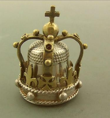 Vintage Solid Silver Commemorative Thimble And Crown  J.m.young