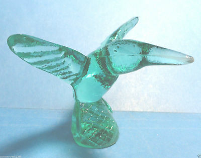 Hummingbird Green Glass Figurine
