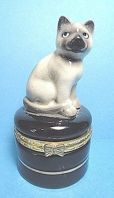 Porcelain  Cat  On A Black Hinged Trinket Box