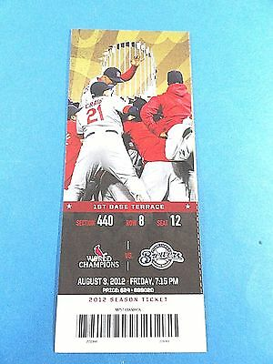 St Louis Cardinals vs Milwaukee Brewers Ticket w/Stub Friday 8/03/2012
