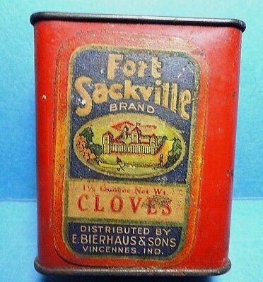 "Very Rare Vintage ""FORT SACKVILLE"" Brand Cloves Paper Label Spice Tin"