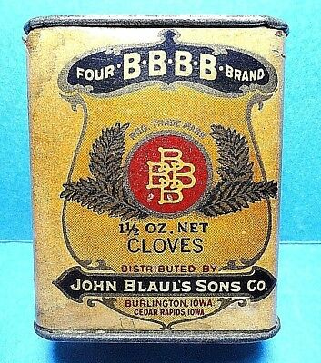 """Vintage """"FOUR BBBB"""" Brand Cloves Cardboard Sides With Tin Top.Bottom Spice Tin"""
