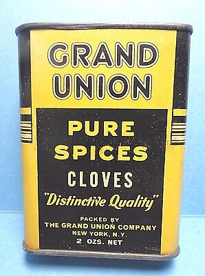 """Vintage """"GRAND UNION"""" Cloves Spice Tin   FREE SHIPPING"""