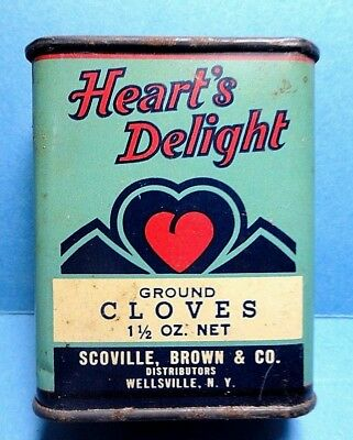 """Vintage """"HEART'S DELIGHT"""" Cloves Spice Tin   FREE SHIPPING"""