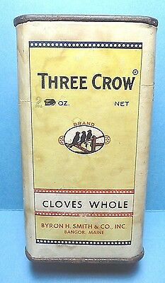 """Vintage """"THREE CROW"""" Paper Label Cloves Spice Tin   FREE SHIPPING"""