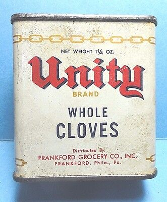 """Vintage """"UNITY"""" Brand Cloves Spice Tin   FREE SHIPPING"""