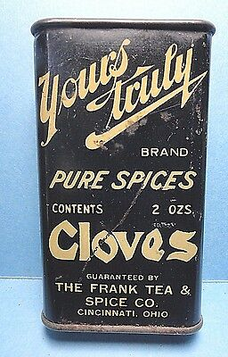 """Vintage """"YOURS TRULY"""" Brand Cloves Spice Tin   FREE SHIPPING"""