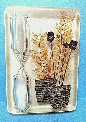 Vintage Lucite Kitchen Sand Egg Timer Fall Autumn Flowers Free Shipping