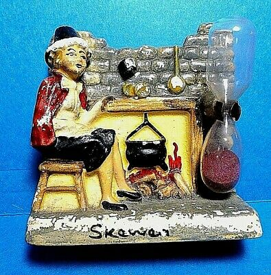 "Vintage Manor Ware ""Skeweo"" Lady and Fireplace Sand Egg Timer England"