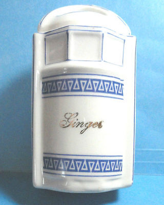 Vintage German Blue & White Ginger Spice Canister Jar