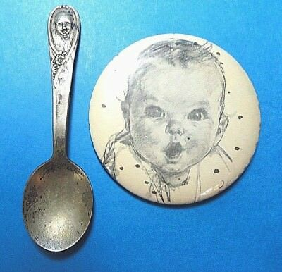 Vintage Gerber Baby Spoon and Pinback  FREE SHIPPING