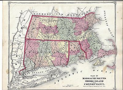 1873 Ma., Ct., Ri., Map That Has Been Removed From The Beer's 1873 Atlas