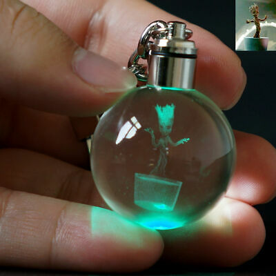 Groot Guardians of the Galaxy 3D Crystal LED Night Light Key Ring Chain Gifts