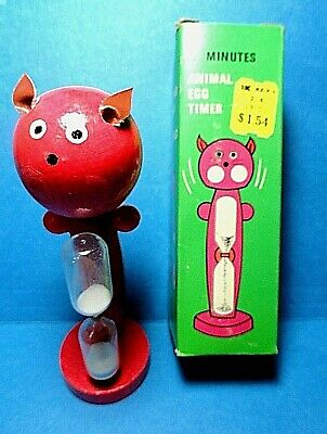 "Vintage Wooden ""Pink Nodder Head Cat"" Sand Egg Timer Free Shipping"